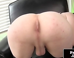 Stockinged shemale tugging her dick