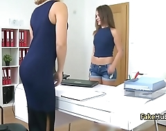 Sexy lesbian agent seduced brunette on casting