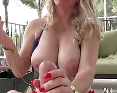 Busty Blonde MILF Vicky Vette Uses Sex Toy On Lucky Cock!