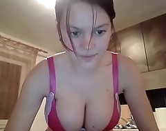 Amazing big boobs French housemate masturbating on cam