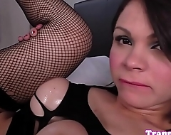 Busty shemale assfucked and jizzed on tits