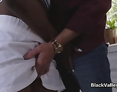 Black bigtit from tennis to white cock