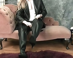 Busty blonde babe in nylon leather boots