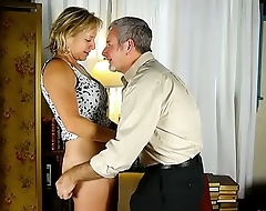 Tasty old spunker in thigh high kinky boots is such a hot fuck