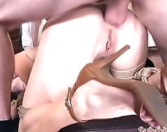 Gagging submissive babe buttfucked deeply