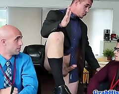 Spex office stud sucks while riding cock