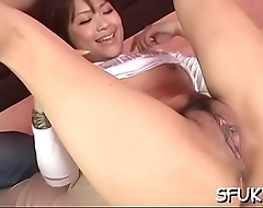 Shy oriental babe gets pussy smashed