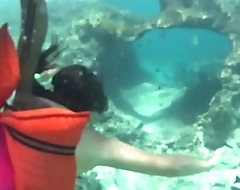 Voyeur Snorkeling underwater cam spy on ass and tits