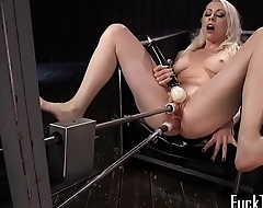 Toy babe drilled in both holes with machine