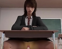 3D cowgirl with dildo in classroom