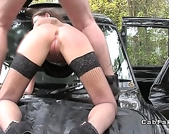 Green eyed hottie anal fucked in taxi