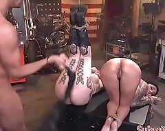 Inked submissive sluts assfucked and flogged